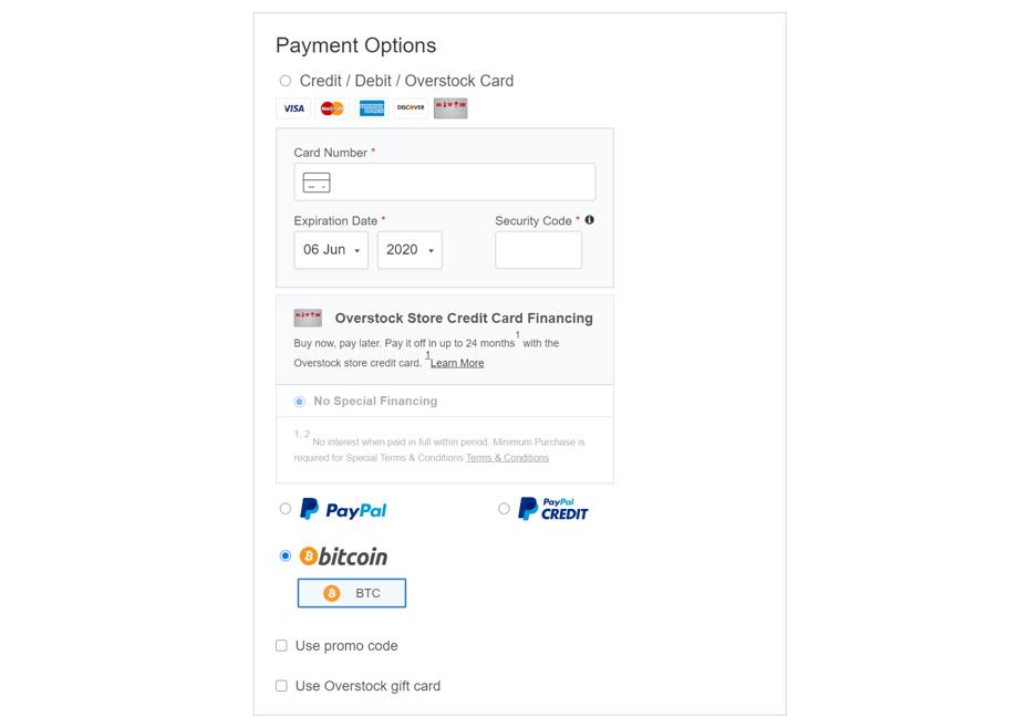 Betaal met Bitcoin bij overstock.com