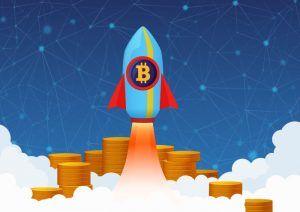 Bitcoin koers als een raket omhoog