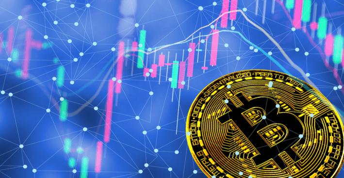 Een Bitcoin met een handelsgrafiek