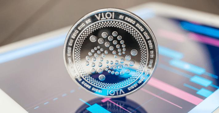 Een IOTA munt op een mobiel handelsplatform
