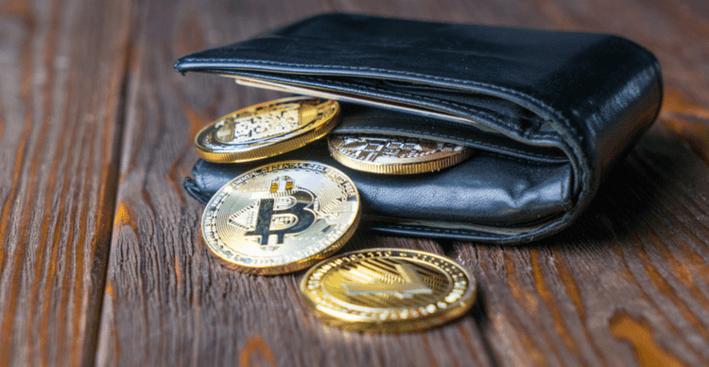 Afbeelding van cryptovaluta in een portemonnee